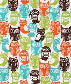 Michael Miller Swedish Owls Brown Fabric
