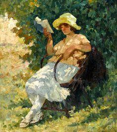 HENRI LEBASQUE      (1865-1937)      La lecture au jardin