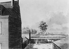 John Hill (American (born England), 1770–1850). View from My Work Room Window in Hammond Street, New York City, ca. 1826–30. The Metropolitan Museum of Art, New York. The Edward W. C. Arnold Collection of New York Prints, Maps, and Pictures, Bequest of Edward W. C. Arnold, 1954 (54.90.283 recto) #newyork #nyc