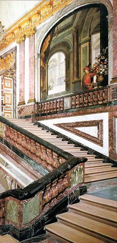 """VERSAILLES - The marble staircase called """"The Queen's staircase""""."""