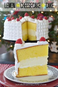 Lemon Cheesecake Cake - 2 lemon cake layers filled with a vanilla cheesecake and topped with Cool Whip frosting#lemon #cheesecake #coolwhip http://www.insidebrucrewlife.com