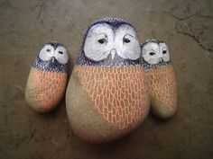 Pet Painted Owl Rocks