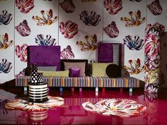 i could lay on that all day long!!! decor, explosions, missoni print, interiors, colors, pink, prints, homes, flooring