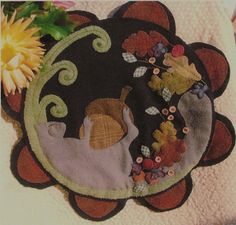 Autumn Nap  Wool Applique  Penny Rug by susanpinick on Etsy, $10.00