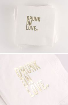 'drunk on love' cocktail napkins! so cute #cocktail #wedding #reception #napkins #drinks http://www.betsywhite.com/drunk-on-love-napkins-white-gold-50-6174-prd1.htm