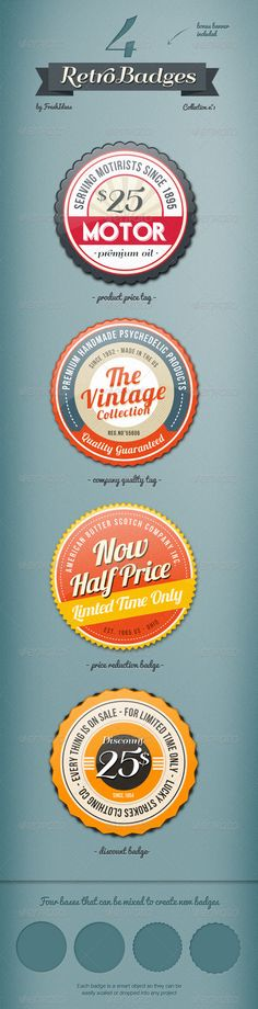 4 Vintage Badges only available on GraphicRiver