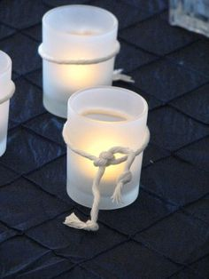 "Votives that celebrate ""Tying the Knot""  - Nautical Wedding"