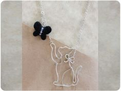Cat & butterfly Necklace  wire crystal beads wool by Boogiecat, $16.00