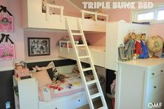 Triple bunk beds maximize space in this two-bedroom house for a family of five. Via hometalk.com