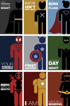 Eye-Catching Quote Posters Featuring Minimalist Pictograms Of Superheroes