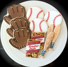 Baseball themed Decorated Cookies by peapodscookies