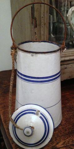 Vintage Enamel Milk Pail with blue bands.