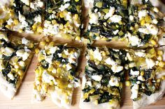 leek, corn and chard flatbread by smitten kitchen
