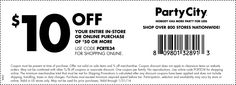 Party City $10 off Printable Coupon coupons, 50 printabl, parties, parti citi, 60 printabl, citi printabl, citi 10, citi coupon, printabl coupon