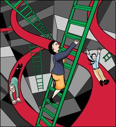 Chutes 'n' Ladders Illustration - a cover illustrion for an article on TheLadders.com; snakes and ladders, chutes and ladders, game, games, gameboard, play, graphic, graphic design,