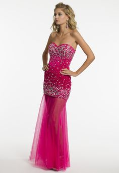 Strapless Illusion Skirt Prom Dress by Camille La Vie