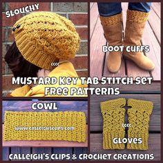 Calleigh's Clips & Crochet Creations: Free Crochet Pattern - Key Tab Boot Cuffs