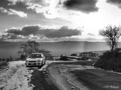 P1050326 by JayandMelPhotography, via Flickr: https://www.facebook.com/JamesAndMelissaPhotography  Subaru, Black and White, Photography, Nature, Beautiful, snow, Deserted Road.