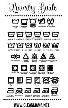 Ever wonder what those laundry symbols mean? Print out this freebie and keep it in your laundry room to know how to launder everything! Free Printable Laundry Guide via Clean Mama