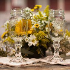Mason Jar Goblets // Kierstan Correnti Photography // http://www.theknot.com/weddings/album/a-country-camo-wedding-pagosa-springs-co-145692