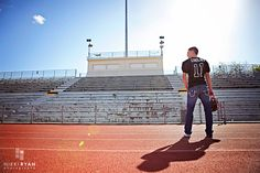 Love this! Take the senior to the football field he played on during his high school years. <3 football field photography, footbal field