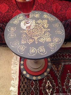 Make this little side table with wood discs and a tall candlestick, then paint it! So easy to make a cute little table for drinks next to a sofa or chair. Metal Leaf Foil Table Top DIY | Paint + Pattern Foil Tables, Decor Ideas, Metals Leaf, Gold Foil, Diy Furniture, India Rooms, Modern Diy, Da India, Diy Gettin