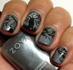 halloween nails diy, tree, nail polish colors, nail file, awesom nail, spooky halloween, freestyl design, halloween challeng, rin nail