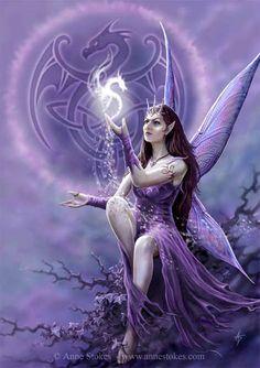 celtic art, ann stoke, magic, fantasi, fairies, purple, dragons, angels, medium