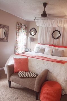 curtain canopy, coral, white comforter, grey & chevron bedroom
