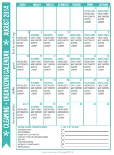 Start your August out right by implementing this awesome cleaning routine with this FREE printable! Cleaning + Organizing Calendar for AUGUST via Clean Mama
