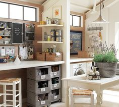 Great combination Laundry-Homework-Craft space.
