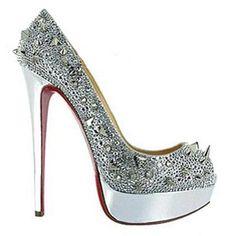 Christian Louboutin Peep Toe Pumps Silver Evening Shoes