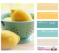 living rooms, color palettes, color schemes, color combos, kitchen colors, robin egg blue, color pallets, aqua, lemon yellow