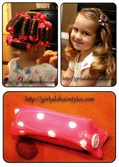 Check out these homemade curlers from Life with Monkey. They're great for kids because there are no hard plastic frames. Image via Girly Do Hairstyles. This would also make really cute home made gifts!