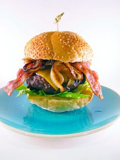 Double Bacon Burgers with Maple Worcestershire Onions