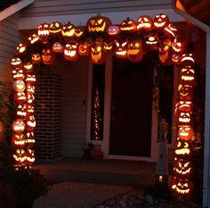 Jack O Lantern Archway.  (PVC & foam pumpkins)