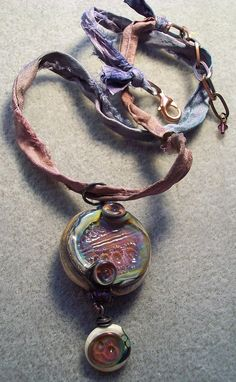 """Ocean Urchin Egg"" simple necklace w/ urchin stamped dangle- lampwork beads and design- Genea Beads, ""Tapestry"" Wooly Wire- Wooly Wire Etc."