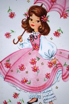 Vintage Girl With Parasol 1950s Happy Birthday Greetings Card