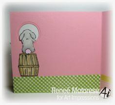 Bunny & Ducky Mini Set. (sku#4404) Art Impressions Mini Front & Backs Easter card.