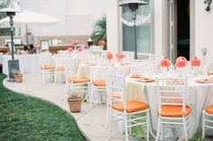Peach wedding decor and centerpieces