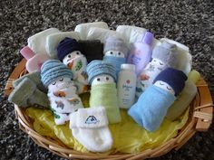 Diaper Babies! Great baby shower gift using newborn diapers, washcloths, and socks.