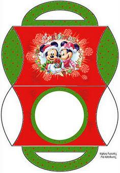Cajitas imprimibles navide�as de Minnie y Mickey. Navidad.