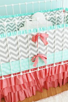 Sweet Sorbet Chevron Custom Crib bedding by LottieDaBaby on Etsy, $385.00....I would use a black crib instead of white though;)