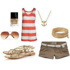 summer clothes, anchor necklace yay