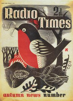 black white red charcoal // Radio Times Cover - 1938