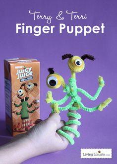 Cute Monster Finger Puppet Crafts for Kids! Juicy Juice & Monsters University Kids Activities Ideas. #monstersu