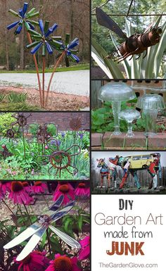 junk garden art, diy tutorial garden ideas, crafti, outdoor garden art, outside diy ideas, diy garden craft, diy junk art, junk gardening, diy garden art ideas