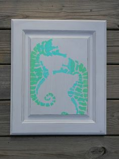 Seahorse Painting. Nautical Decor. White. Sea by searchnrescue2