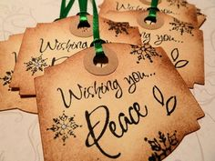 Vintage Inspired Christmas Gift Tags - Set of 6 - Wishing You Peace #Zibbet