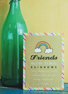 Friends are like Rainbows Card - POCKET PAGES™ and mambi card pad.  Friends card.